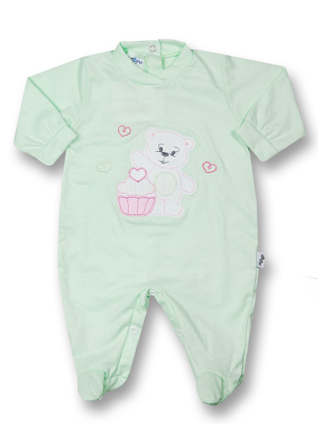 Baby footie cotton pastry. Colour pistacchio green, size 3-6 months