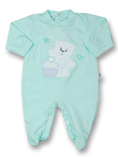 Baby footie cotton pastry. Colour green, size 6-9 months