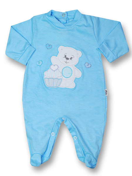 Baby footie cotton pastry. Colour turquoise, size 0-3 months Turquoise Size 0-3 months