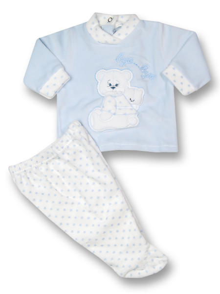 Baby outfit chenille bye bye. Colour light blue, size 0-1 month Light blue Size 0-1 month