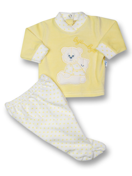 Baby outfit chenille bye bye. Colour yellow, size 1-3 months Yellow Size 1-3 months