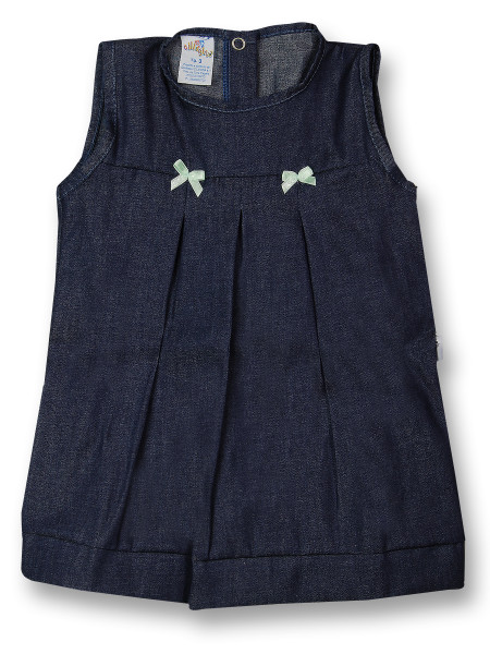 Sleeveless newborn cotton dress with bows. Colour blue, size 1-3 months Blue Size 1-3 months