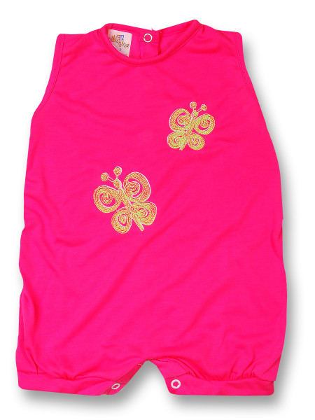 Romper newborn baby sleeveless butterflies, in cotton. Colour fuchsia, size 3-6 months Fuchsia Size 3-6 months