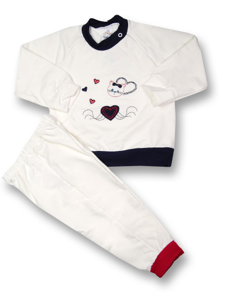 Baby outfit kitten love. Colour creamy white, size 9-12 months