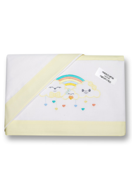 Newborn baby bed sheets 3pcs with pillowcase Rain of hearts. Colour yellow, one size Yellow One size