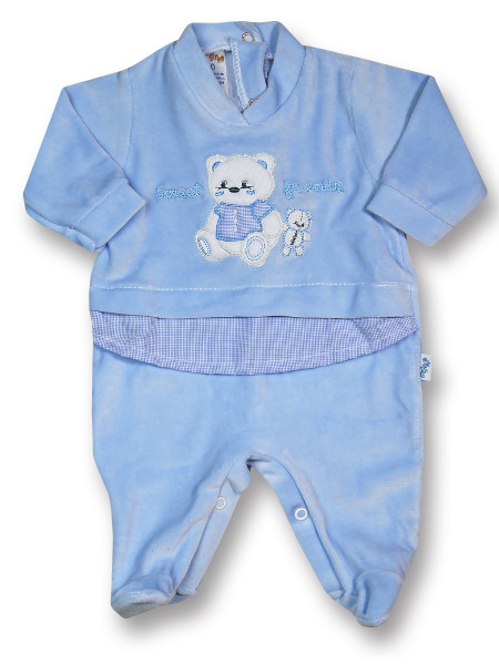 Baby footie sweet friends in chenille. Colour light blue, size first days Light blue Size first days