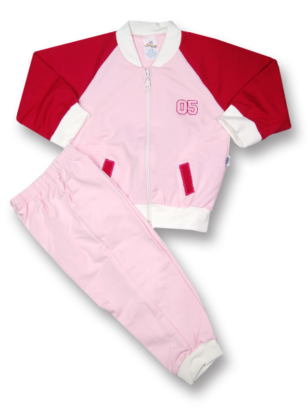 Sweatsuit 2 pieces in gauzed sweatshirt. Colour black cherry, size 3-6 months