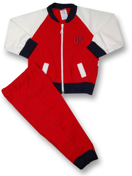 Sweatsuit 2 pieces in gauzed sweatshirt. Colour red, size 6-9 months Red Size 6-9 months