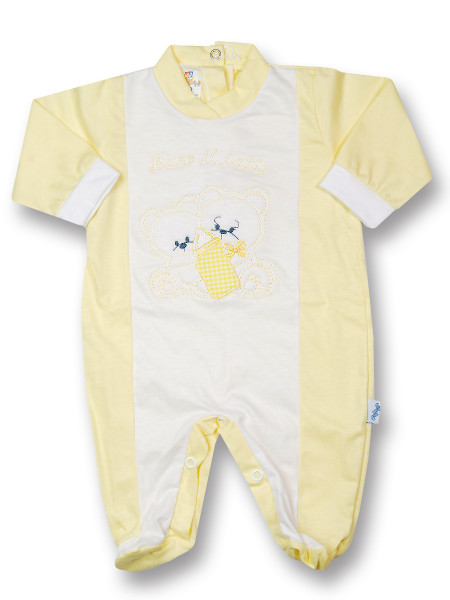 Baby footie cotton drink milk from the bottle. Colour yellow, size first days Yellow Size first days