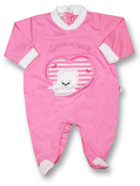 Baby footie windows of love!!!! cotton jersey. Colour coral pink, size 0-1 month Coral pink Size 0-1 month