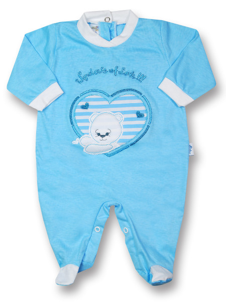 Baby footie windows of love!!!! cotton jersey. Colour turquoise, size 0-1 month Turquoise Size 0-1 month