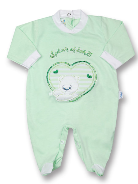 Baby footie windows of love!!!! cotton jersey. Colour pistacchio green, size first days Pistacchio green Size first days