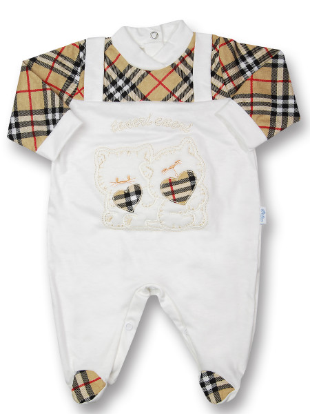 Baby footie Kittens tender hearts unisex Scottish fantasy cream. Colour creamy white, size 0-1 month