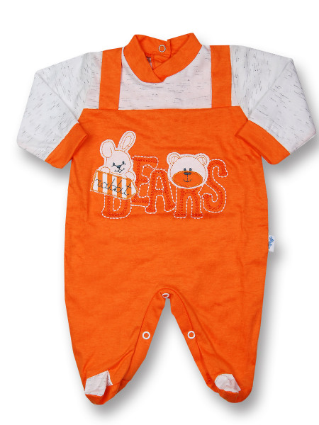 Baby footie rabbit jersey cotton jersey bears. Colour orange, size 1-3 months Orange Size 1-3 months