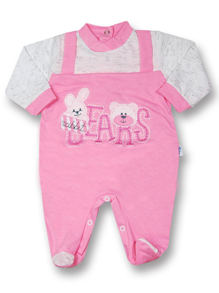 Baby footie rabbit jersey cotton jersey bears. Colour coral pink, size 0-1 month Coral pink Size 0-1 month