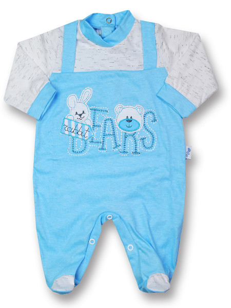 Baby footie rabbit jersey cotton jersey bears. Colour turquoise, size 1-3 months