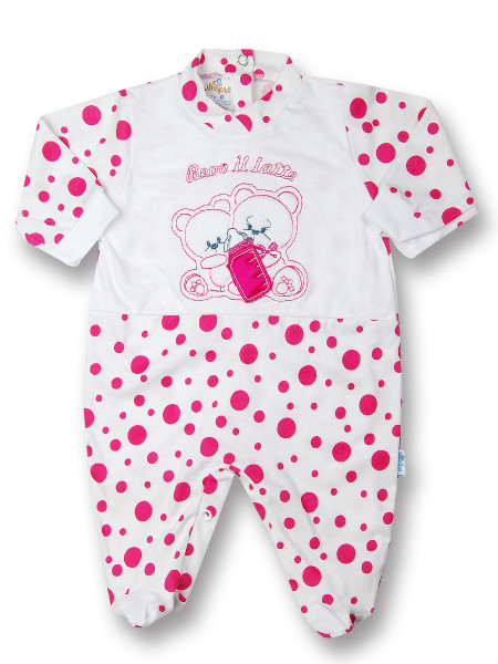 Baby footie polka dots, I drink milk 100% cotton. Colour coral pink, size 0-1 month Coral pink Size 0-1 month