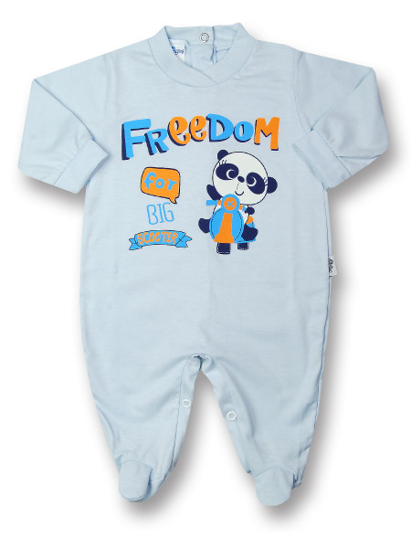 Baby footie baby freedom in cotton, color. Colour light blue, size 0-3 months Light blue Size 0-3 months
