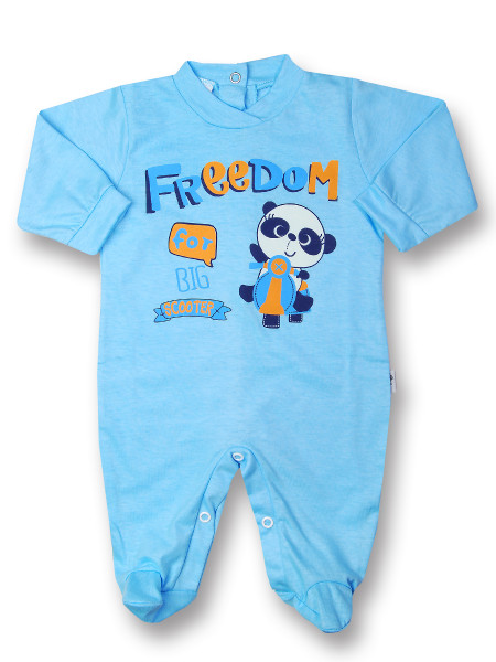 Baby footie baby freedom in cotton, color. Colour turquoise, size 3-6 months Turquoise Size 3-6 months