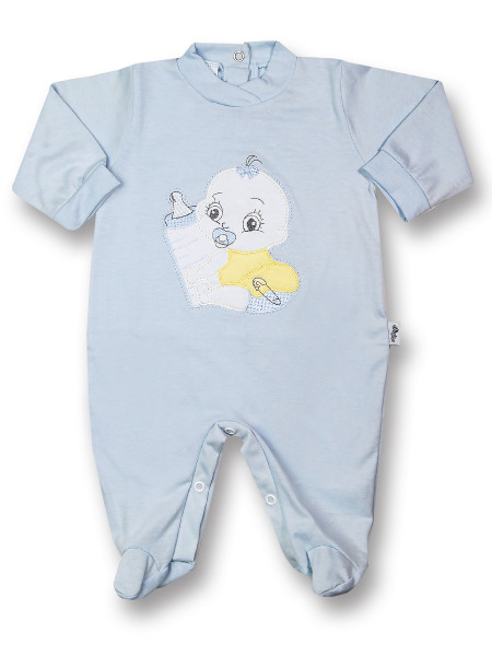 Baby Footie Baby: I'll get the baby bottle. Colour light blue, size 6-9 months Light blue Size 6-9 months