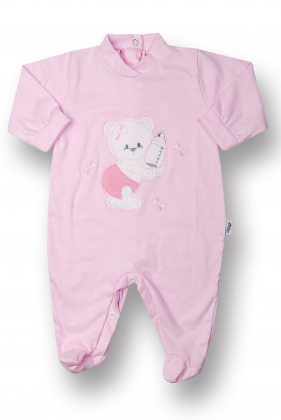 Baby footie bear with cotton bottle. Colour pink, size 3-6 months Pink Size 3-6 months