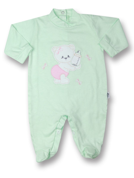 Baby footie bear with cotton bottle. Colour pistacchio green, size 6-9 months Pistacchio green Size 6-9 months