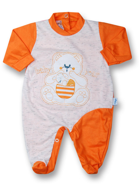 Cotton baby footie baby bear with mom. Colour orange, size 0-1 month Orange Size 0-1 month