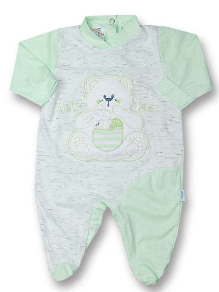 Cotton baby footie baby bear with mom. Colour pistacchio green, size 1-3 months Pistacchio green Size 1-3 months