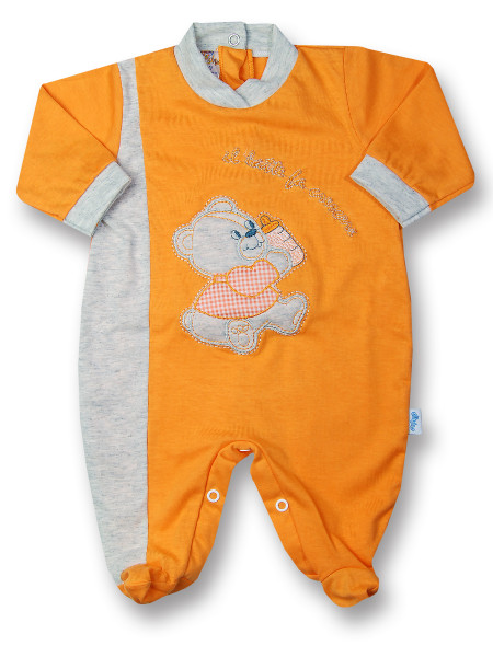 Cotton baby footie, milk makes milk grow. Colour orange, size 3-6 months Orange Size 3-6 months