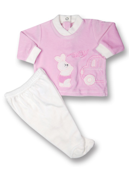 Baby outfit 2 pcs Baby rabbit & car. Colour pink, size 3-6 months