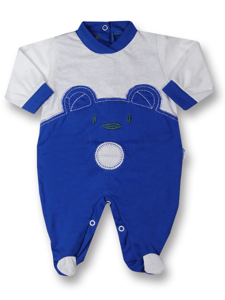 Baby footie Baby bear wow in cotton. Colour light blue, size 3-6 months Light blue Size 3-6 months