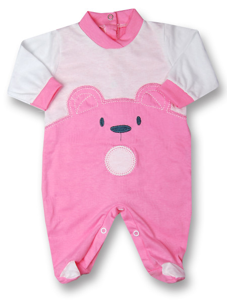 Baby footie Baby bear wow in cotton. Colour coral pink, size 1-3 months Coral pink Size 1-3 months
