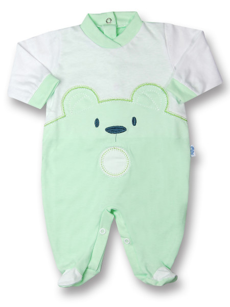 Baby footie Baby bear wow in cotton. Colour pistacchio green, size 1-3 months Pistacchio green Size 1-3 months