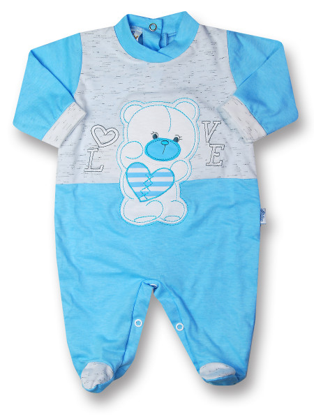 Baby footie cotton Teddy love. Colour turquoise, size 3-6 months Turquoise Size 3-6 months