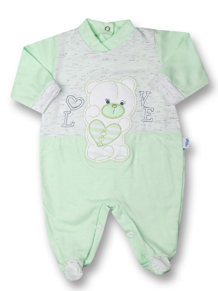Baby footie cotton Teddy love. Colour pistacchio green, size 3-6 months Pistacchio green Size 3-6 months