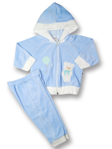 Outfit 2 pieces chenille bear balloon. Colour light blue, size 3-6 months