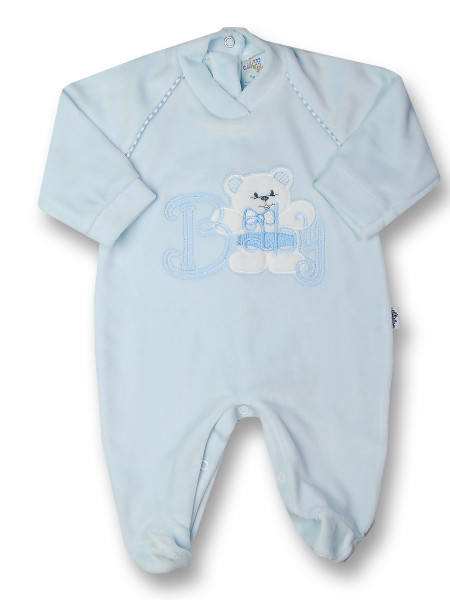 Baby footie in chenille baby bear. Colour light blue, size first days Light blue Size first days
