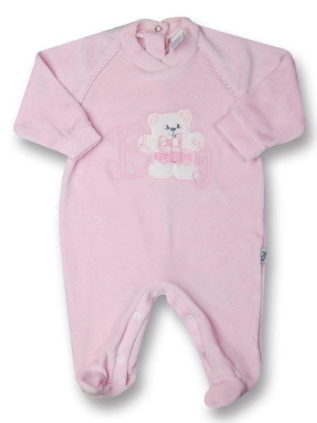 Baby footie in chenille baby bear. Colour pink, size 3-6 months Pink Size 3-6 months