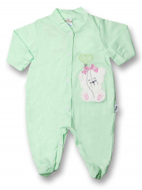 Baby footie teddy bear balloon heart 100% cotton. Colour pistacchio green, size 6-9 months