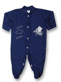 Baby footie 100% cotton aviator fly ooohh. Colour blue, size 3-6 months