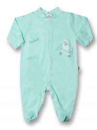 Baby footie 100% cotton aviator fly ooohh. Colour green, size 0-3 months