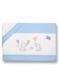 Next2me cradle sheet with elephants, in cotton. Colour light blue, one size