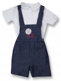 Baby outfit overalls & shirt 33. Colour blue, size 1-3 months