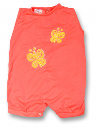 Romper newborn baby sleeveless butterflies, in cotton. Colour orange, size 1-3 months