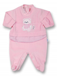 Baby footie sweet friends in chenille. Colour pink, size 0-1 month