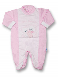 Baby footie cotton drink milk from the bottle. Colour pink, size 0-1 month