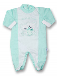Baby footie cotton drink milk from the bottle. Colour green, size 0-1 month