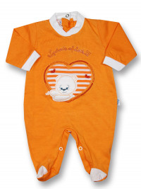 Baby footie windows of love!!!! cotton jersey. Colour orange, size 0-1 month
