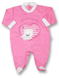Baby footie windows of love!!!! cotton jersey. Colour coral pink, size 0-1 month