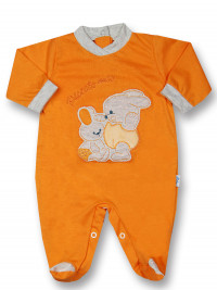 Cotton baby footie My little bunny rabbit. Colour orange, size first days